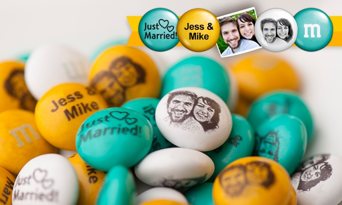 Personalized M&M's chocolate candies are a great way to customize your wedding or birthday party favors. They are also a great, creative gift. Salute someone's big day with a little piece of your heart. Print your own heartfelt message on My M&M's. With 22 colors to choose from, you're sure to find a 80%().
